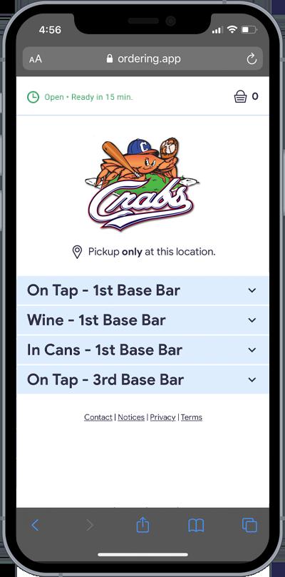 Screenshot of Drink Ordering App